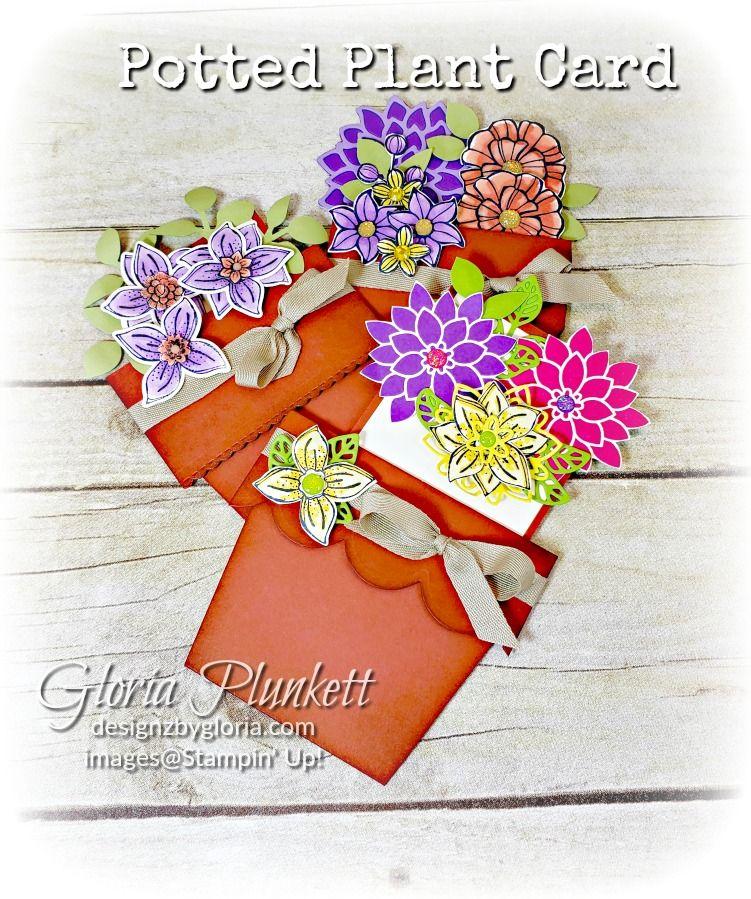 flower pot card with tutorial  flower pots card craft
