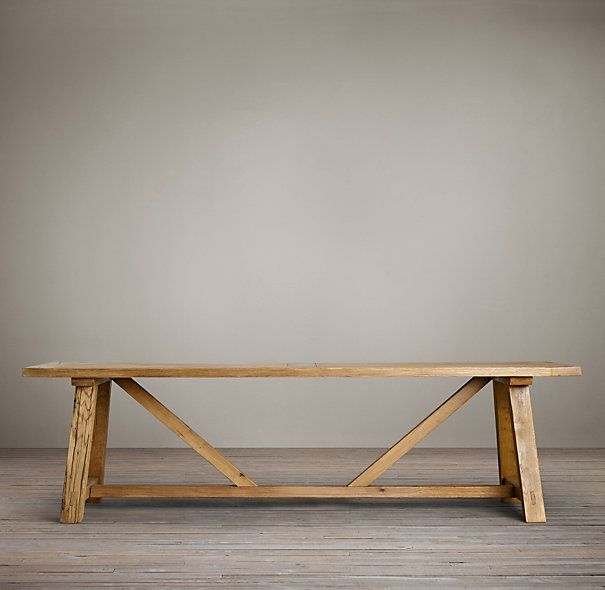 Reclaimed Russian Oak Trestle Small Rectangular Dining Table