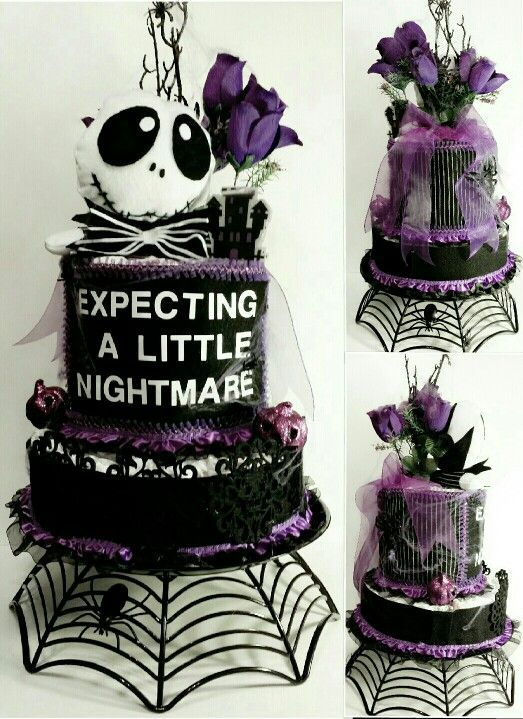 Nightmare Before Christmas Diaper Cake.make As A Regular Edible Cake.