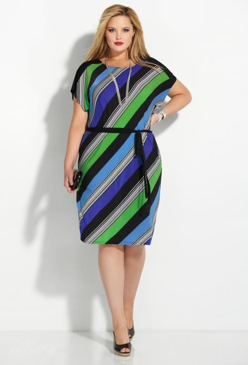 Blue Bias Stripe Belt Dress by Avenue - 12 Summer Dresses with Sleeves Post!