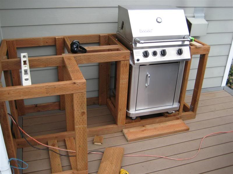 Outdoor grill area on pinterest outdoor barbeque area for Outdoor grill cabinet design