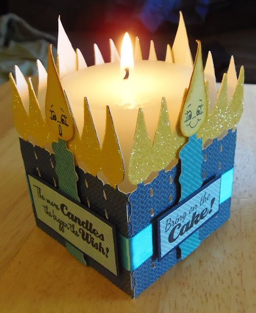 """Birthday candle candle holder made with the """"Wrap It Up"""" cartridge, sentiments from Scrappy Moms Stamps and faces from Peachy Keen."""