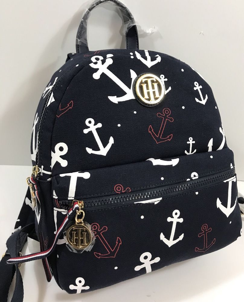 Tommy Hilfiger Navy Blue Backpack Purse Red White Blue Anchors Nautical Nwt 98 Ebay Navy Blue Backpacks Stylish Bag Backpacks