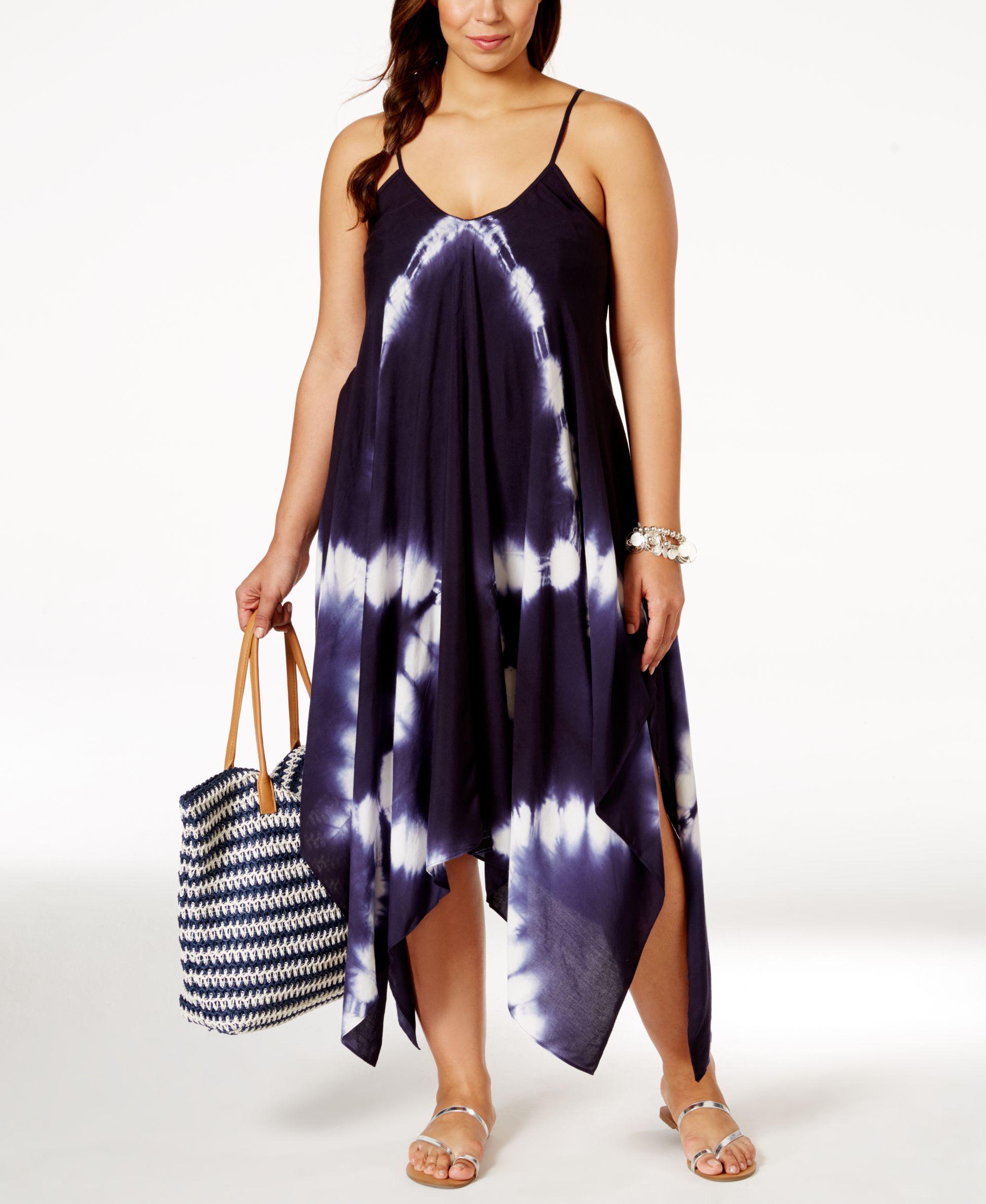 7e9cee94171 Raviya Plus Size Tie-Dye Handkerchief-Hem Cover-Up Dress - Swimwear - Plus  Sizes - Macy s