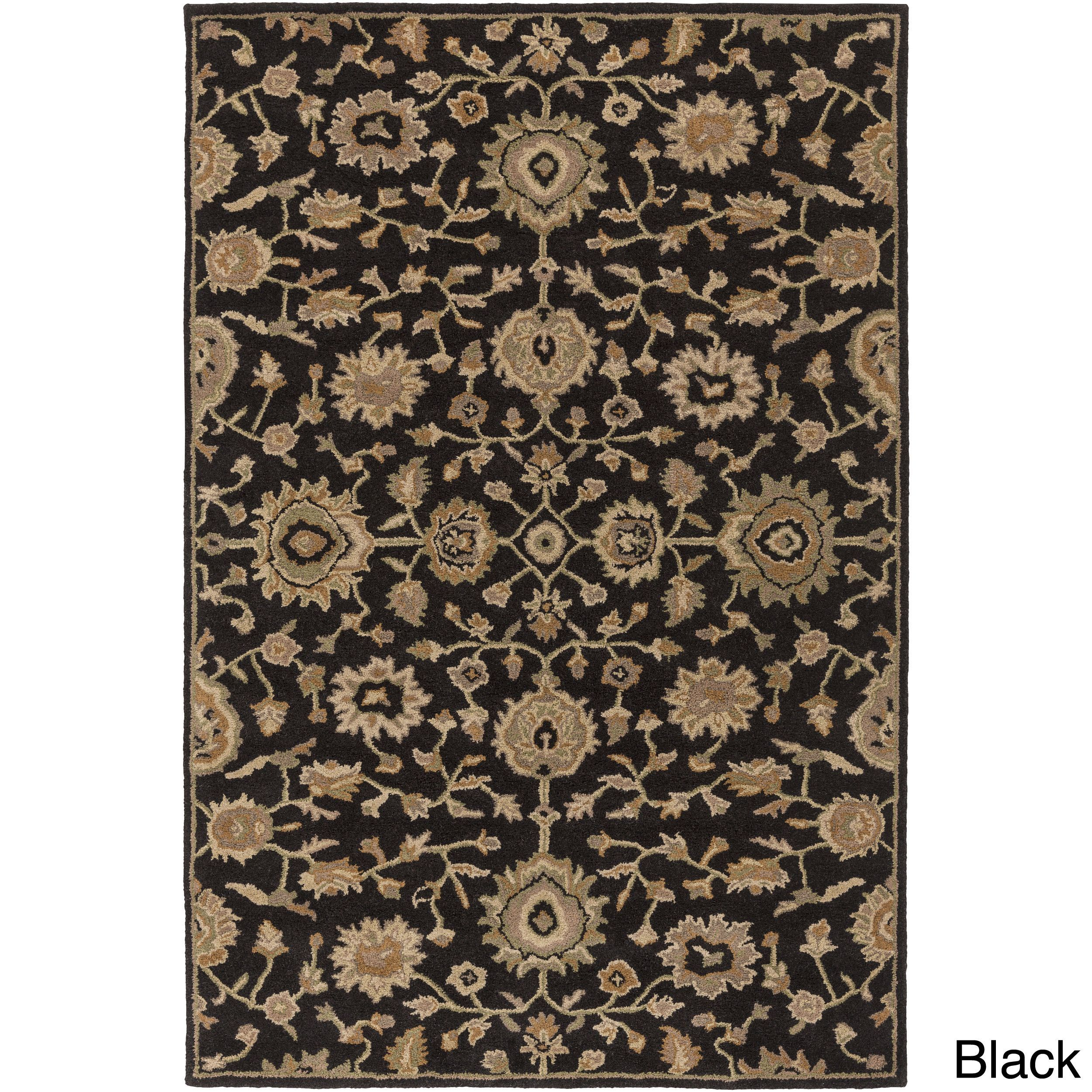 Surya Hand Tufted Calne Floral Wool Rug 7 6 X 9 6 Black 7 6 X 9