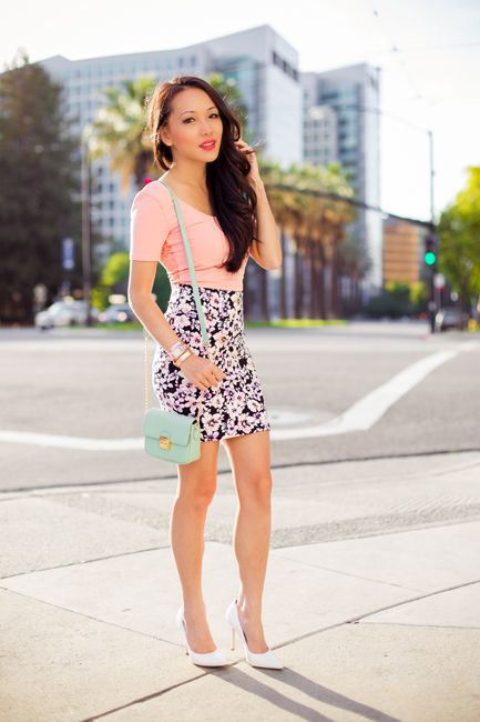 mini floral skirt, forever 21 skirts, pink crop tops, pastel ...