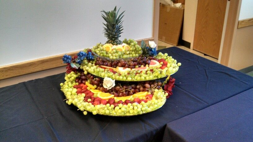 Fruit cascade for Hubby's retirement.  Not bad!  Done by Grace, Emily, and Alycia