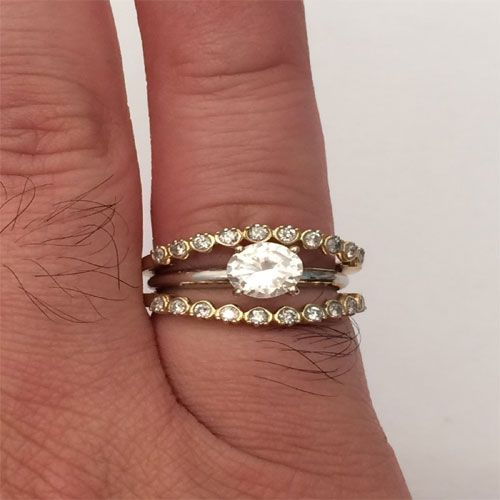 10K Yellow Gold Enhancer Diamonds Ring Guard Wrap solitaire Wedding
