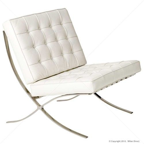 Barcelona Chair White   Premium Version   Replica Milan Direct   $455.00  Real Leather, $329.00