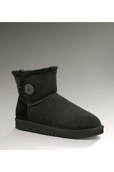 UGG Women's Sheepskin Bailey Button Black Mini Boots