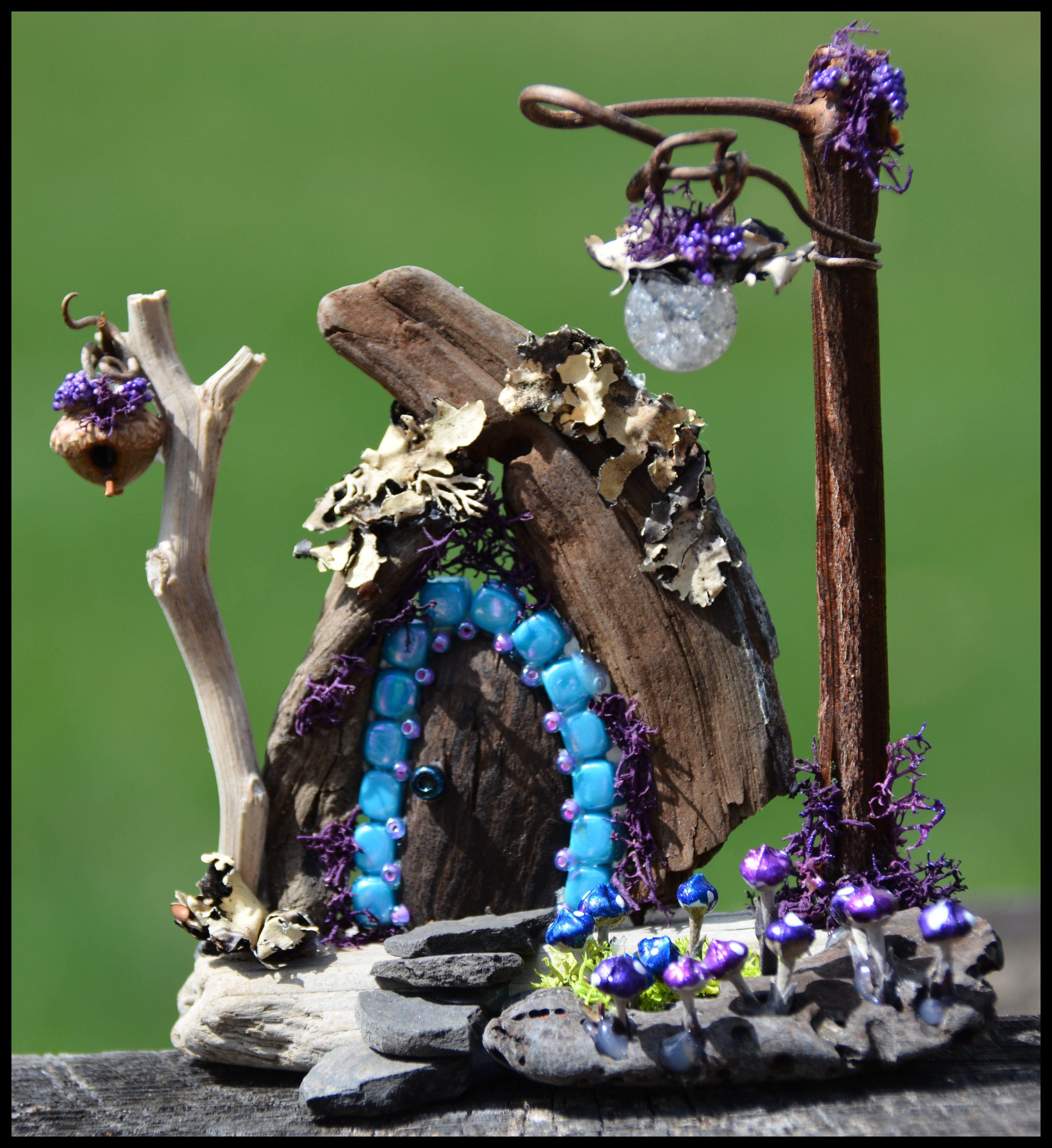 Miniature Faery Garden creation, a fairy door made from a
