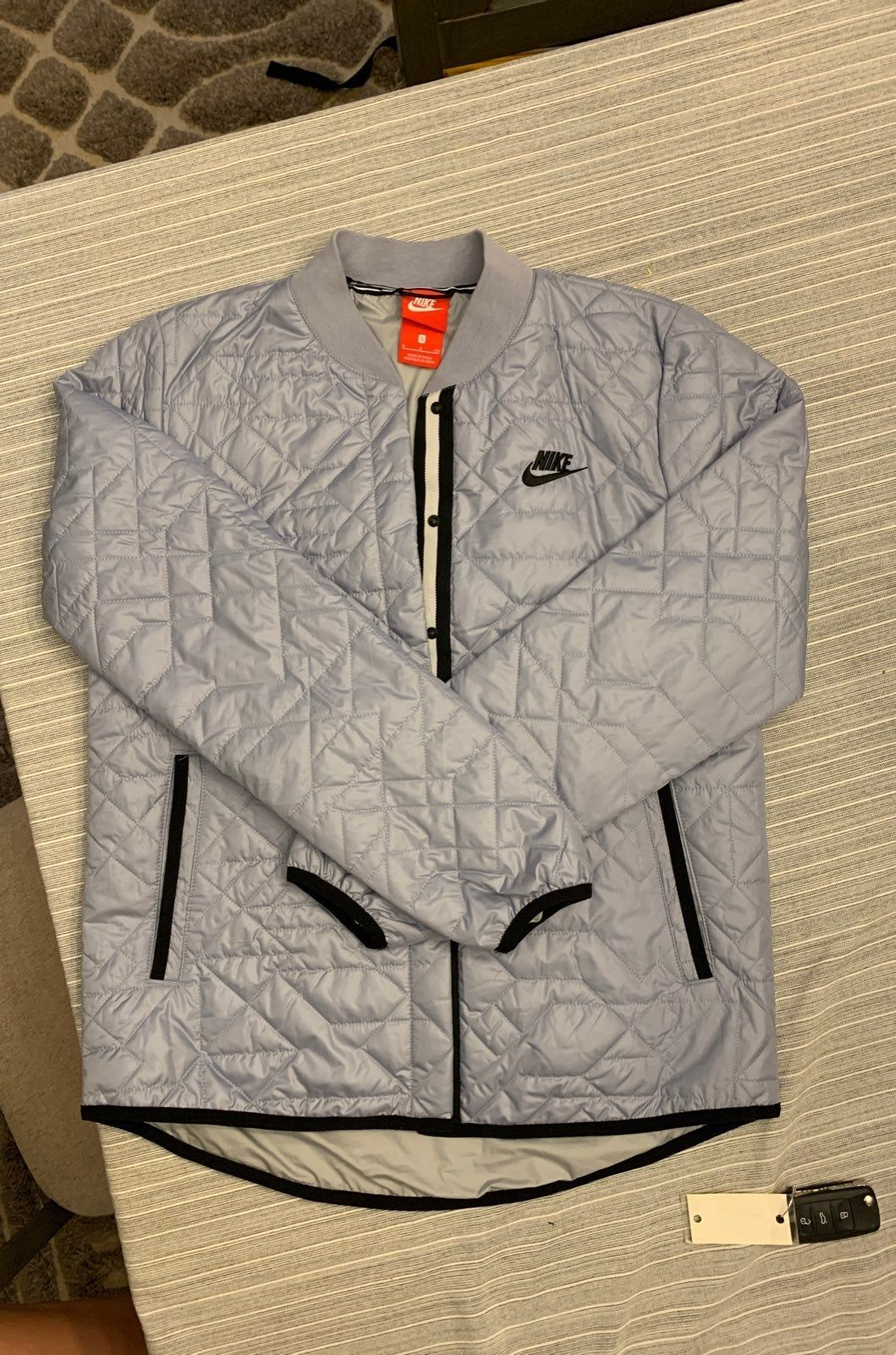 Super Cute Nike Bomber Jacket With A Quilted Pattered Slightly Insulated Button Closure All The Way Down And Nike Bomber Jacket Bomber Jacket Fashion Jackets [ 1600 x 1058 Pixel ]