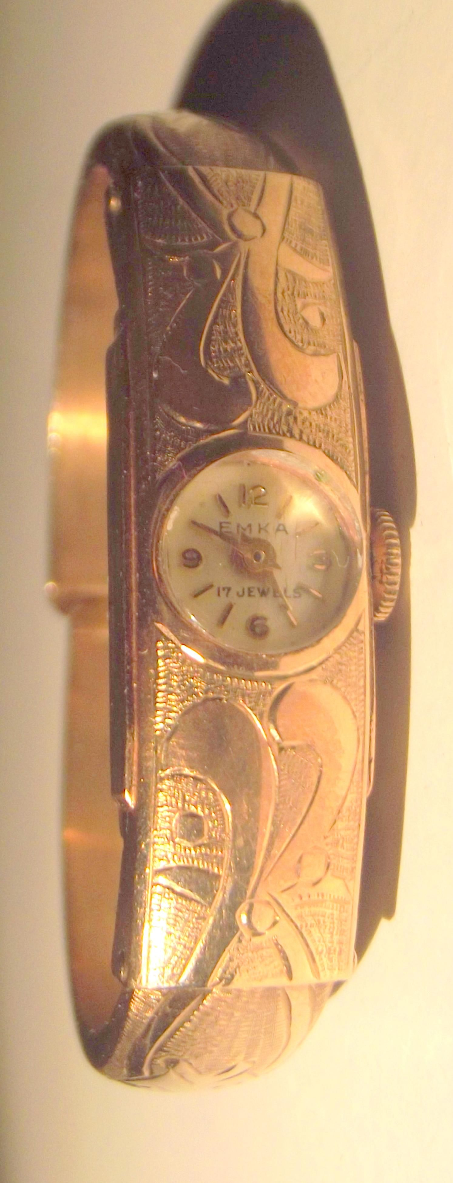 A Quality Ladies 9k Gold Bangle Watch By Emka Geneve Circa 1950 S Armreif