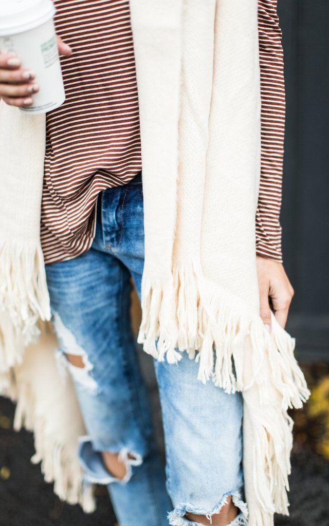 Ivory Fringe Sweater Vest