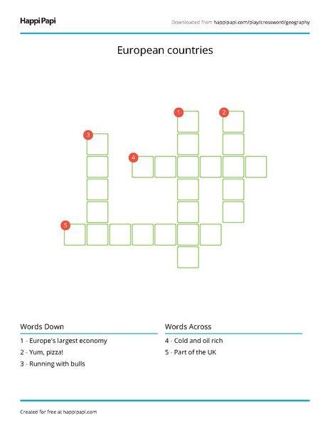 Landmark Countries Free Crossword Puzzle Worksheets Happi Papi Crossword Puzzle Worksheets Crossword
