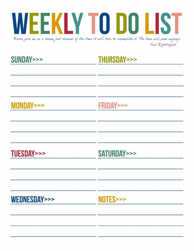 Weekly To Do Calendar : To do list free printables printable
