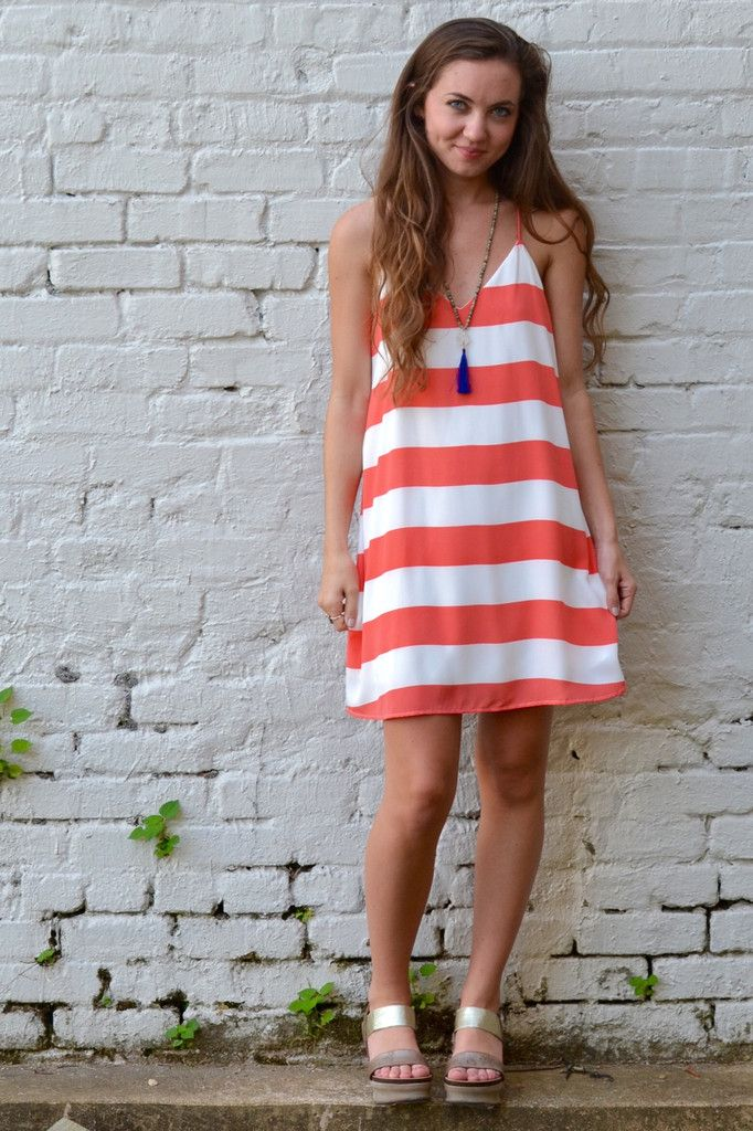 e405ddf0f4d Coral Is the New Black Shift Dress. Stripes