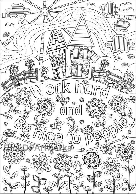 Two Coloring Pages For Kids Or Grown Ups Work Hard Be Nice Etsy Quote Coloring Pages Coloring Pages For Grown Ups Cute Coloring Pages