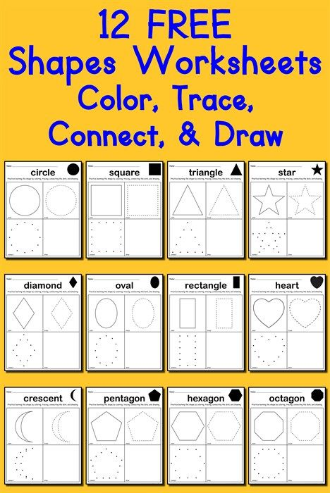 12 free shapes worksheets color trace connect draw shapes worksheets worksheets and shapes. Black Bedroom Furniture Sets. Home Design Ideas