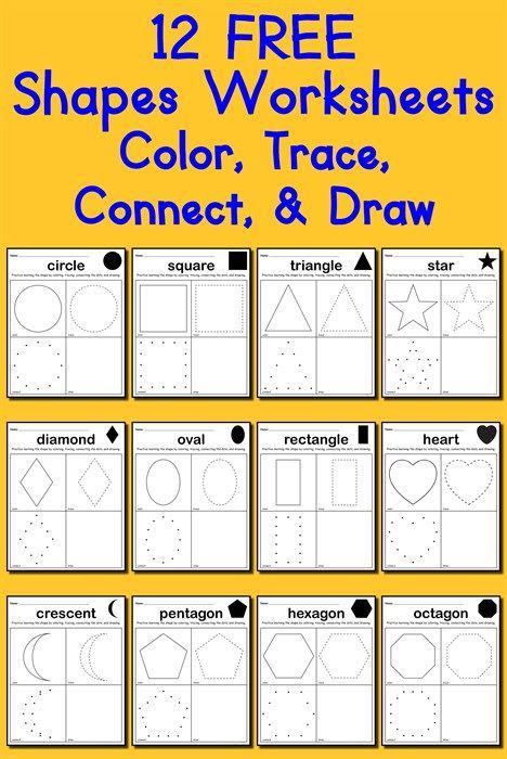 12 shapes worksheets color trace connect draw. Black Bedroom Furniture Sets. Home Design Ideas