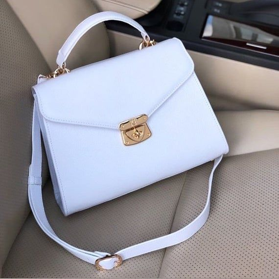 Leather Top Handle Bag, White Leather Handbag Top Handle, Women's Leather Bag KF-2996