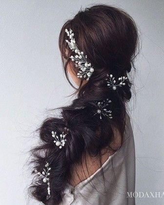 Ulyana Aster Romantic Long Bridal Wedding Hairstyles_07 ❤ See more: http://www.deerpearlflowers.com/romantic-bridal-wedding-hairstyles/2/