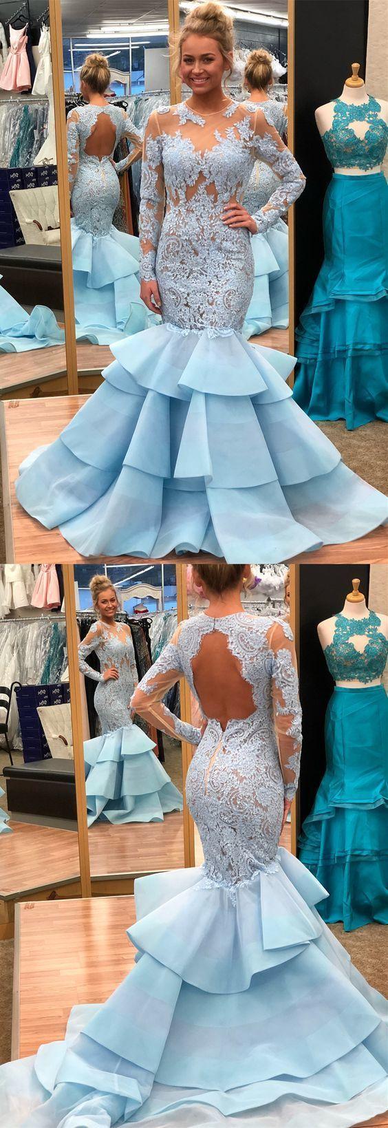 Elegant long sleeves mermaid blue long prom dress with open back in