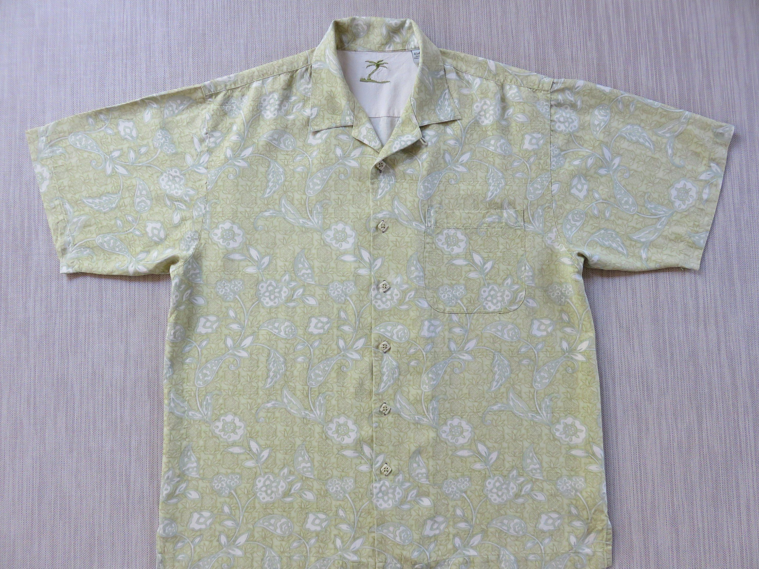 5fd5e841 Silk Hawaiian Shirt KAHALA Aloha Shirt Tropical Paradise Paisley Pineapple  Print Surfer Resort Wear Mens Camp - L - Oahu Lew's Shirt Shack by ...