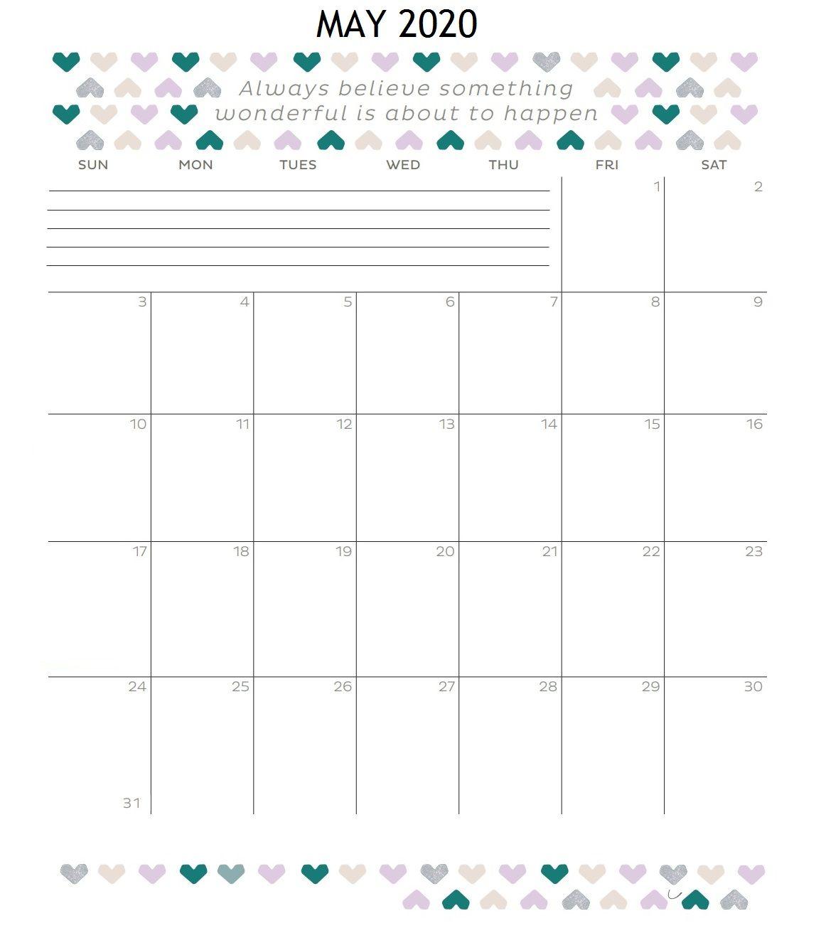 Inspirational May 2020 Calendar In 2020