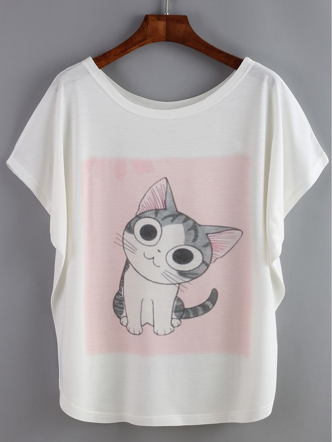 Bat Sleeve Cat Print T-shirt