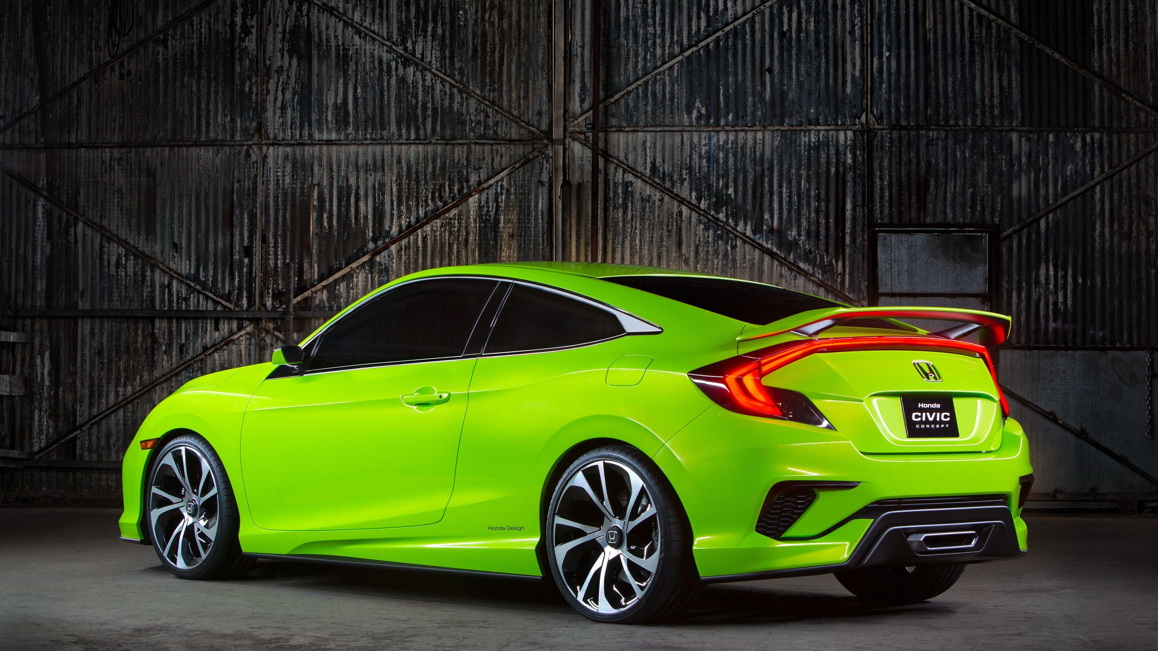 Wallpaper 4k Honda Civic Concept Green 2015 4k Civic Concept