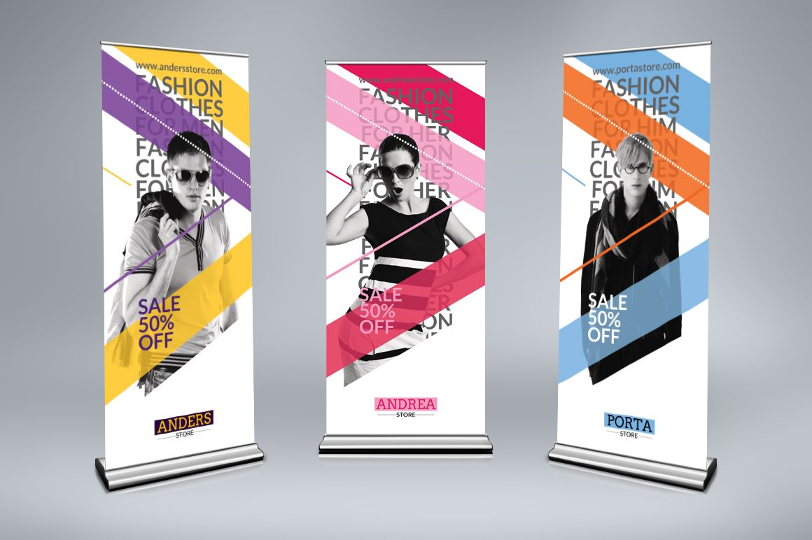Roll up banner or display exemple, inspiration