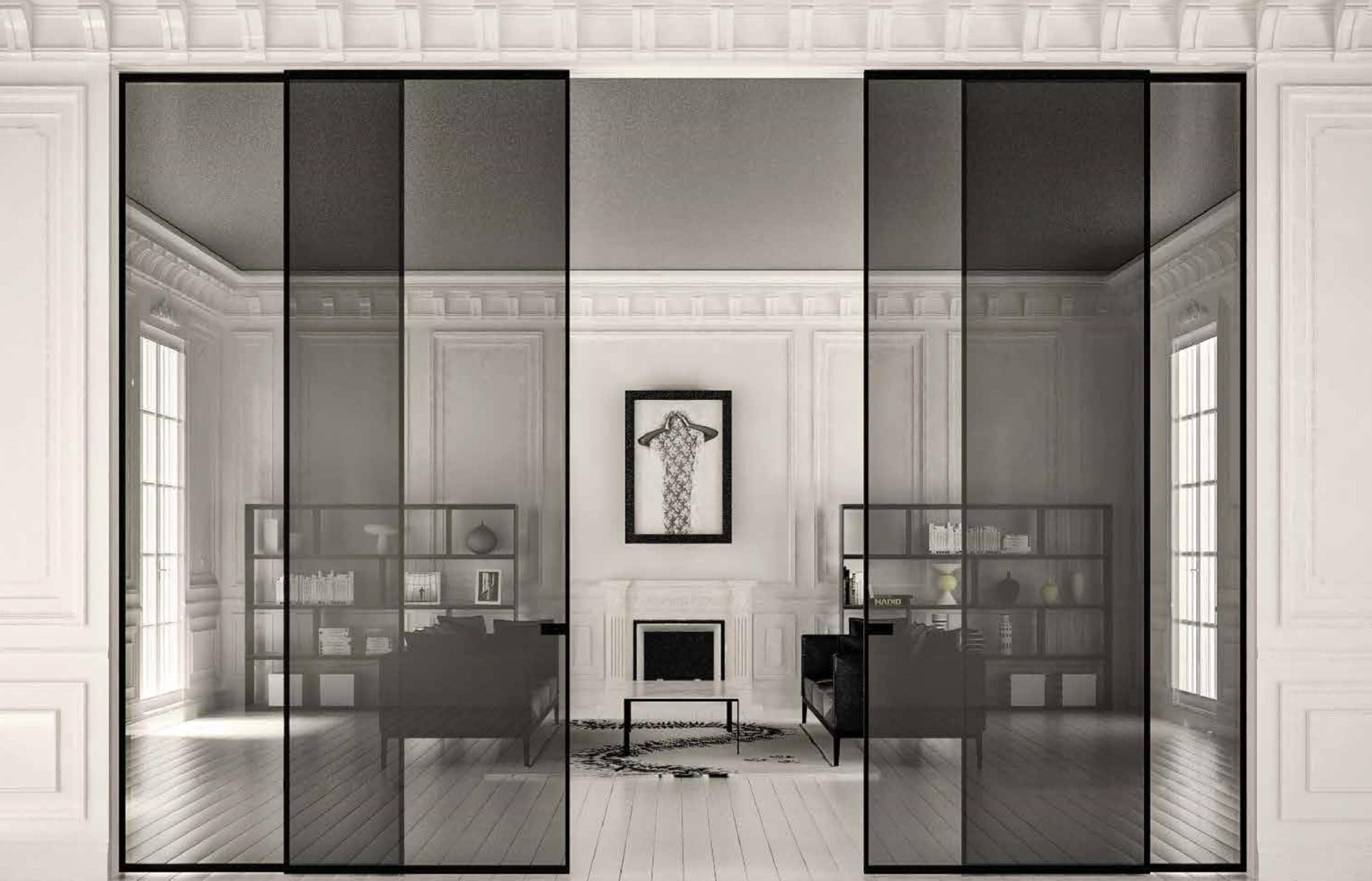 Sliding Doors Black Aluminum Finish 6mm 1 4 Tempered Smoky Grey Clear Glass Glass Doors Interior Glass Room Divider Sliding Glass Door