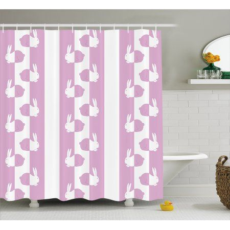 Easter Shower Curtain, Cute Bunny Rabbits in Vivid Pastel Tones ...