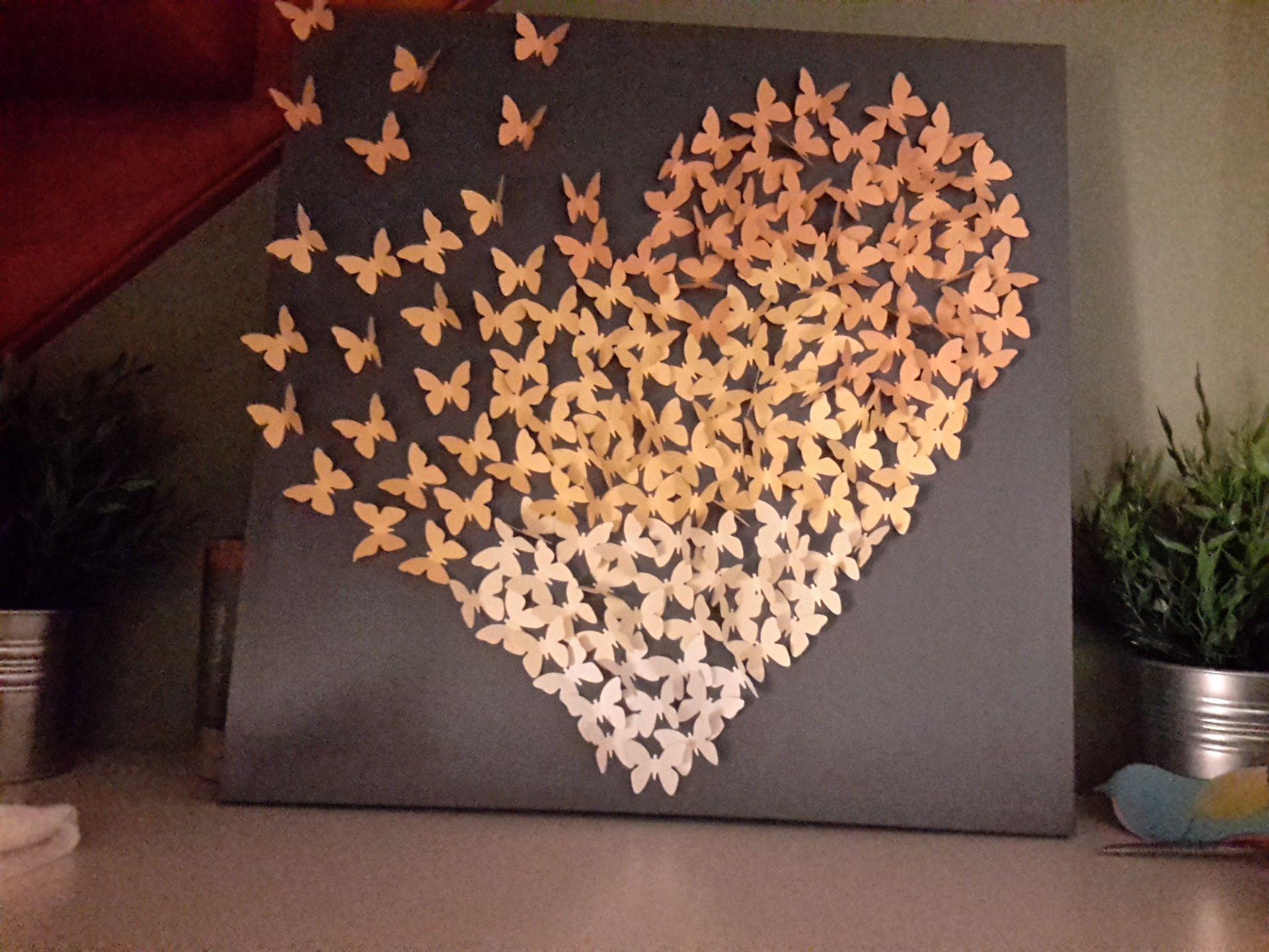 Toile coeur papillons 3d 3d papillon et toiles for Decoration chambre 3d