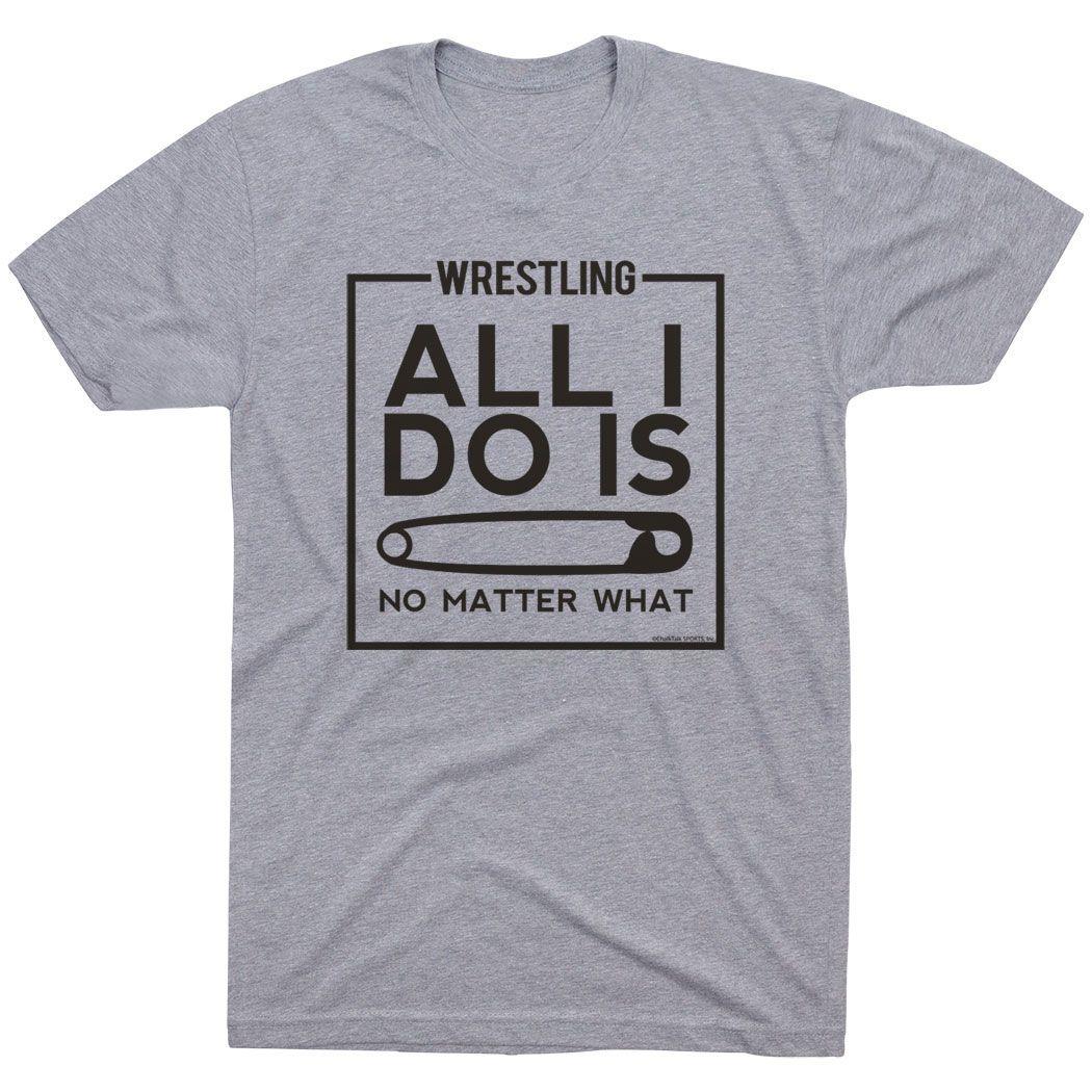 Wrestling Youth T-Shirt - All I Do Is Pin | Boys Short Sleeve Wrestling Shirt | Apparel For Wrestler | Youth Large Boys Wrestling Shirt | Gray