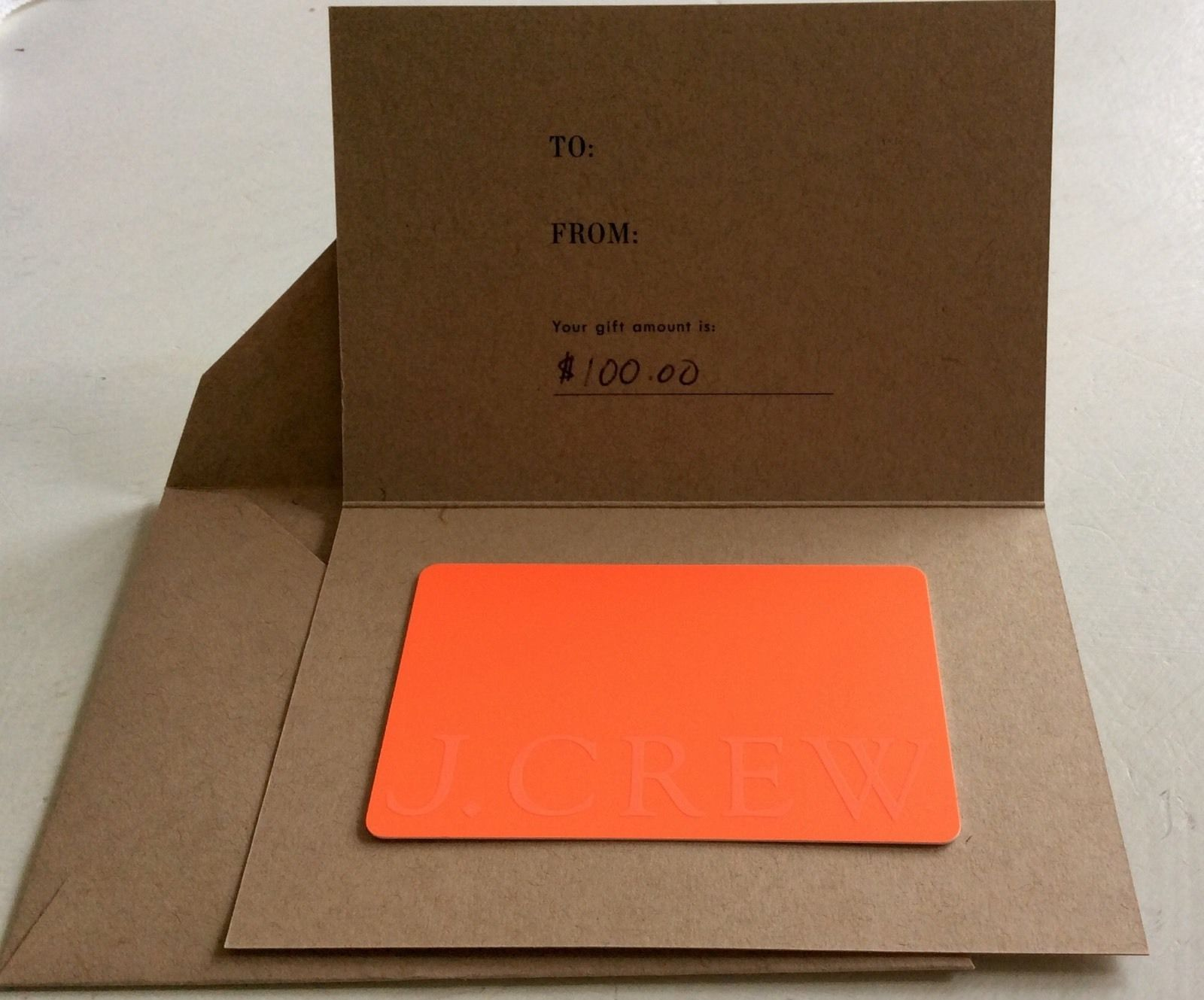 Brand New 100 J Crew Gift Card Usps Mail Or Email Delivery Your