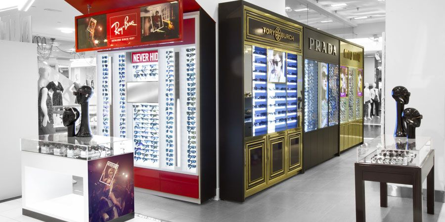 ray ban glasses retailers  retail display by rpg: luxottica eyewear shop. ray bans, tory burch, prada and miu miu: four distinct brands brought together in this second floor \u2026