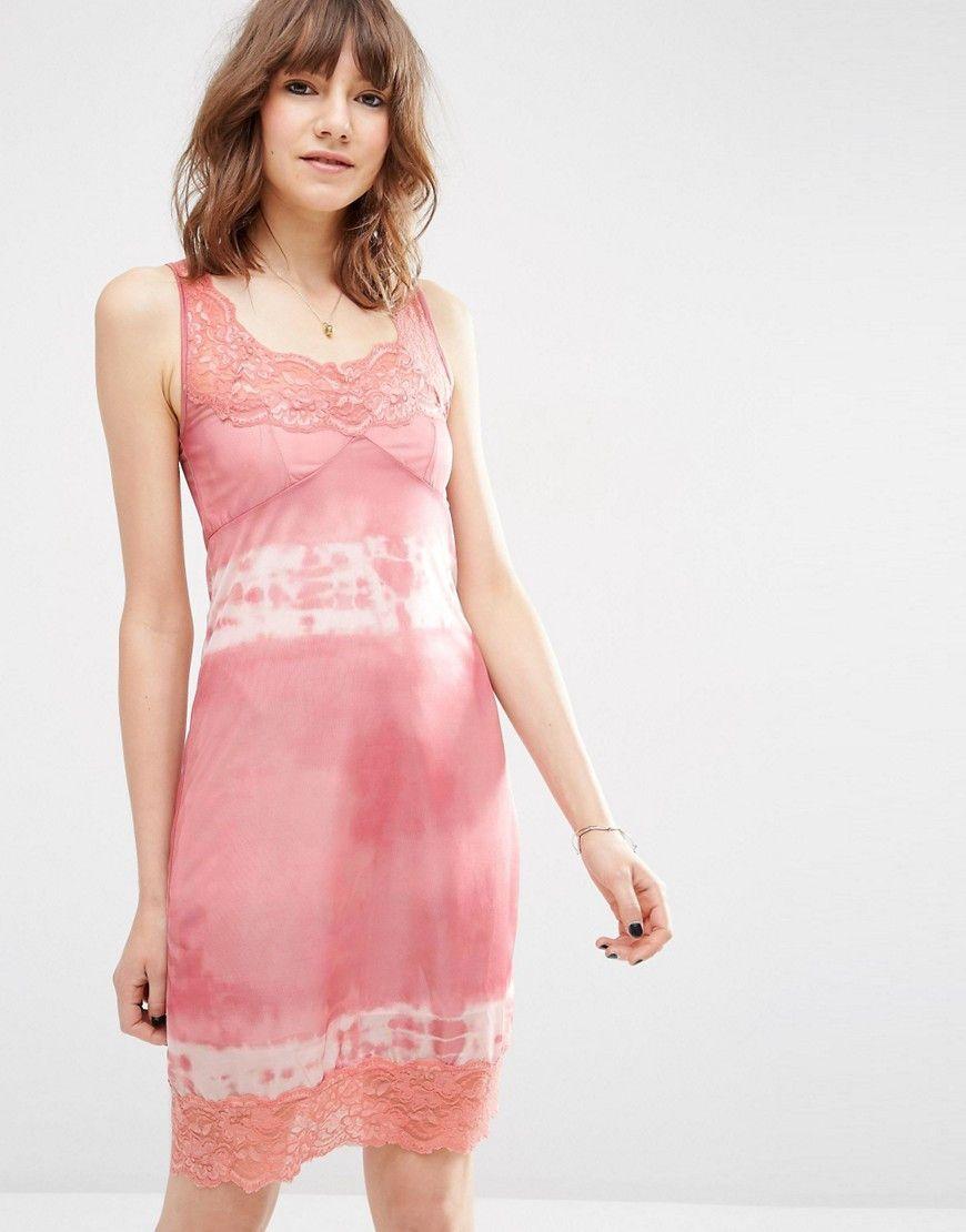 Vestido camisola de encaje con diseño teñido anudado | Products ...