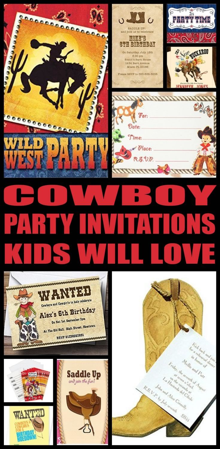 Cowboy Party Invitations | Cowboy party invitations and Cowboy party