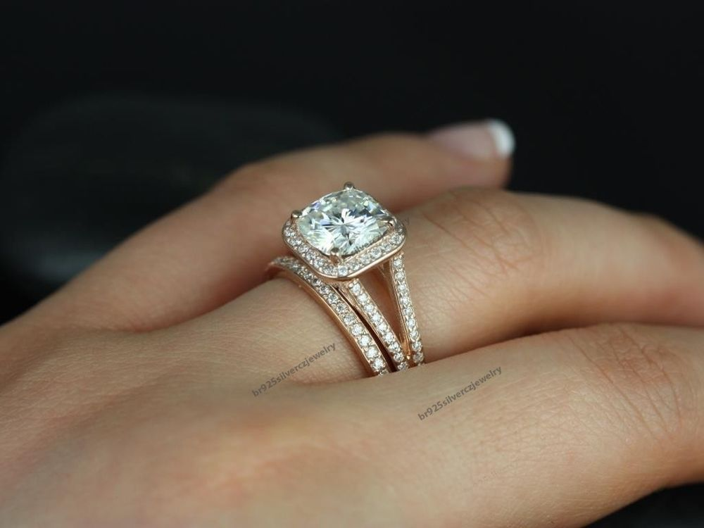 T W 10k Rose Gold Diamond Split Shank Engagement Ring Matching Band