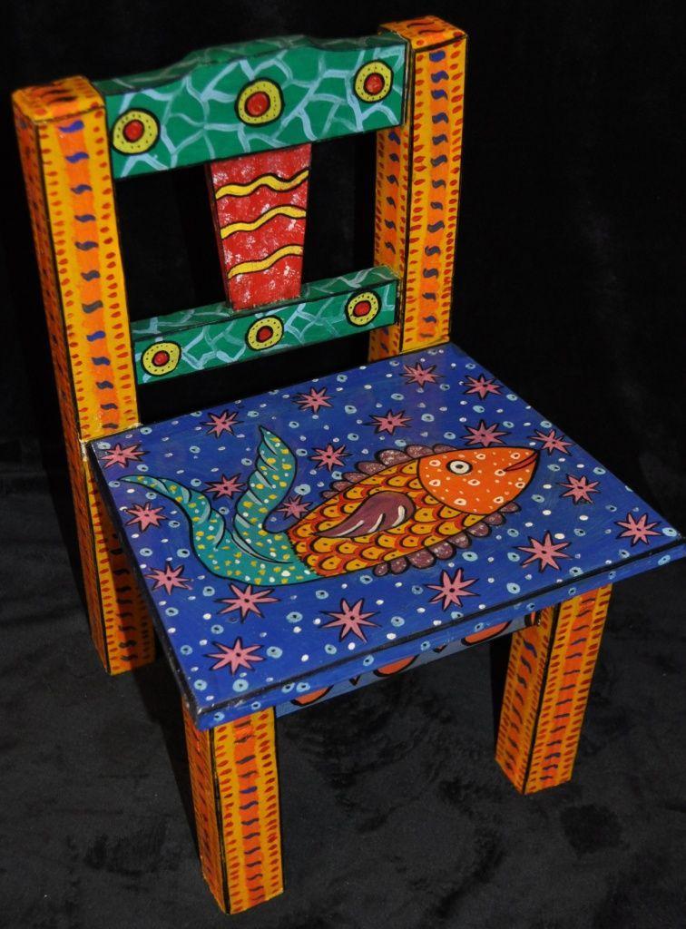 Fish hand painted chair muebles decorados sillas - Muebles decorados a mano ...