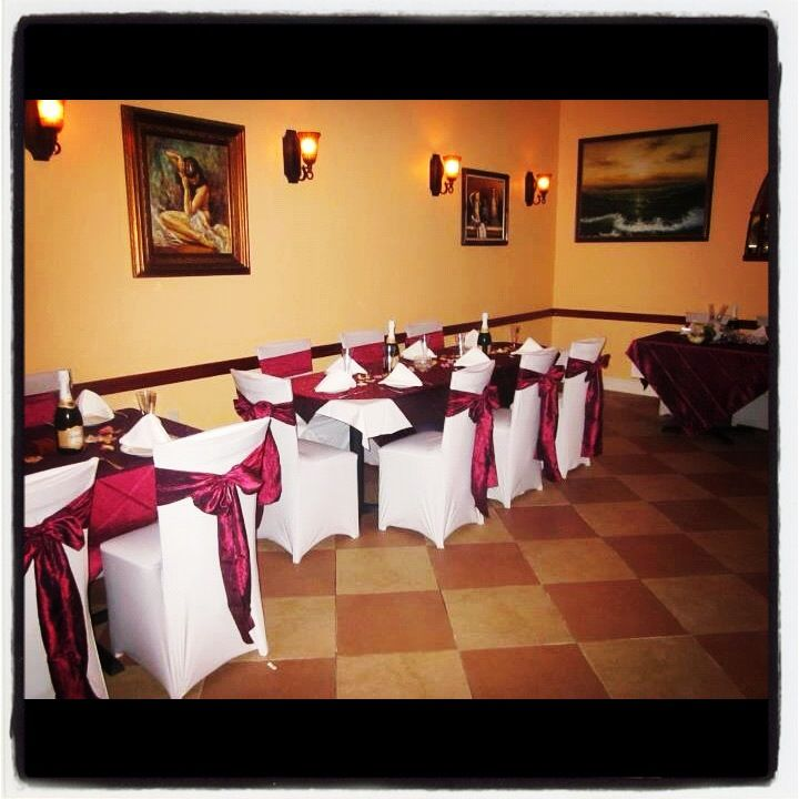 Our Lovely White Spandex Chair Covers And Burgundy Crinkled