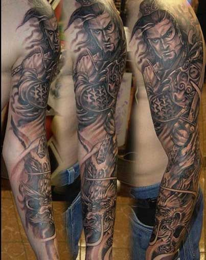 men 39 s samurai sleeve tattoos samurai tattoo and. Black Bedroom Furniture Sets. Home Design Ideas