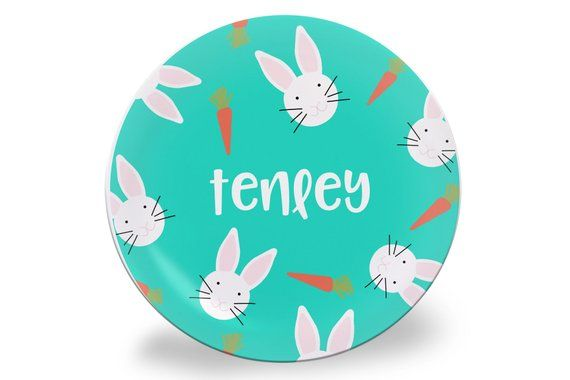 Turquoise Easter Bunny Melamine Personalized Name Plate Kids Easter Plate