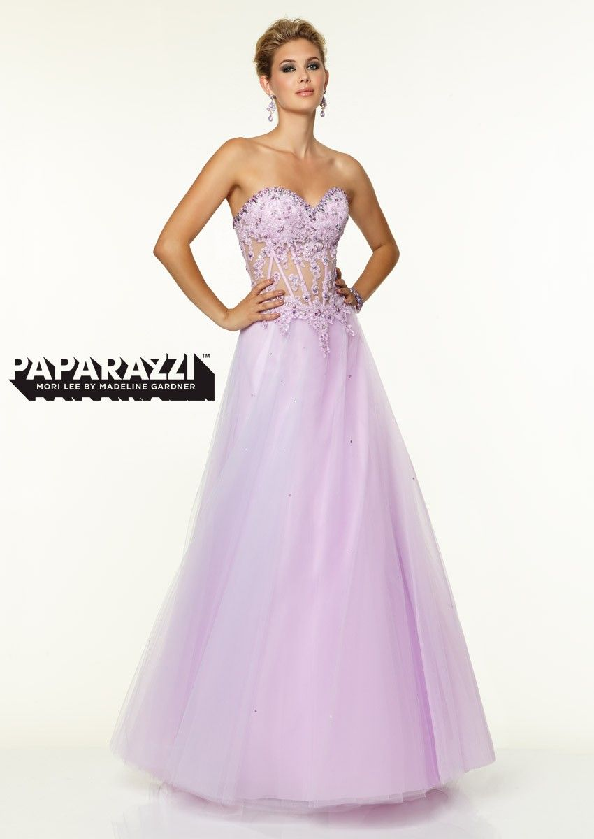 The Mori Lee Paparazzi prom dress is a fun option to a full