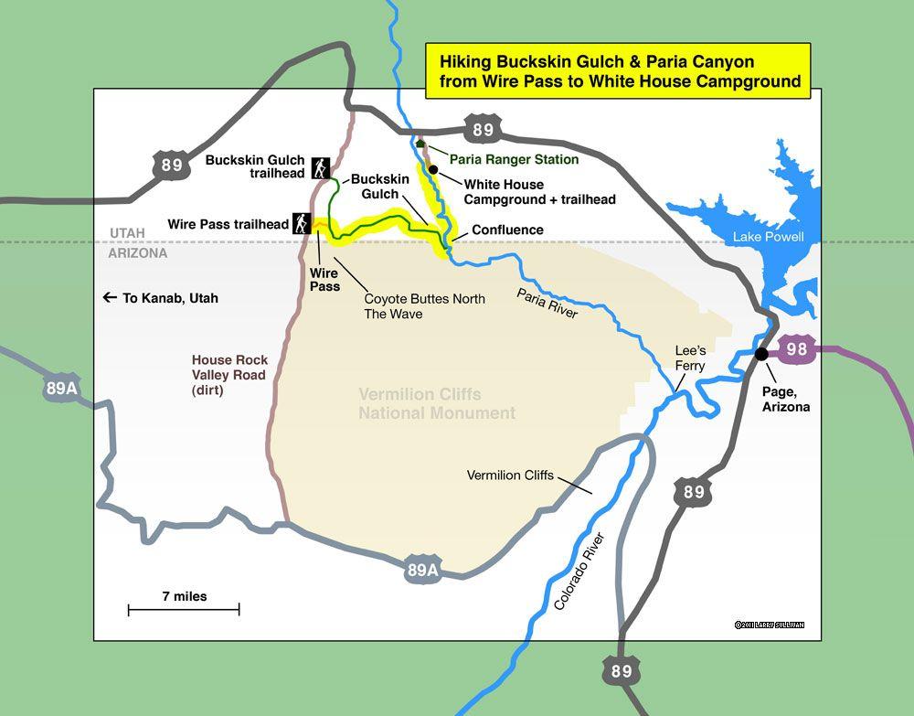 Detail map, hiking Buckskin Gulch & Paria Canyon, Near Page ...