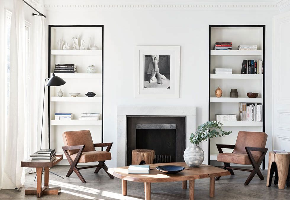Parete attrezzata in cartongesso per un soggiorno moderno for Soggiorno minimalista