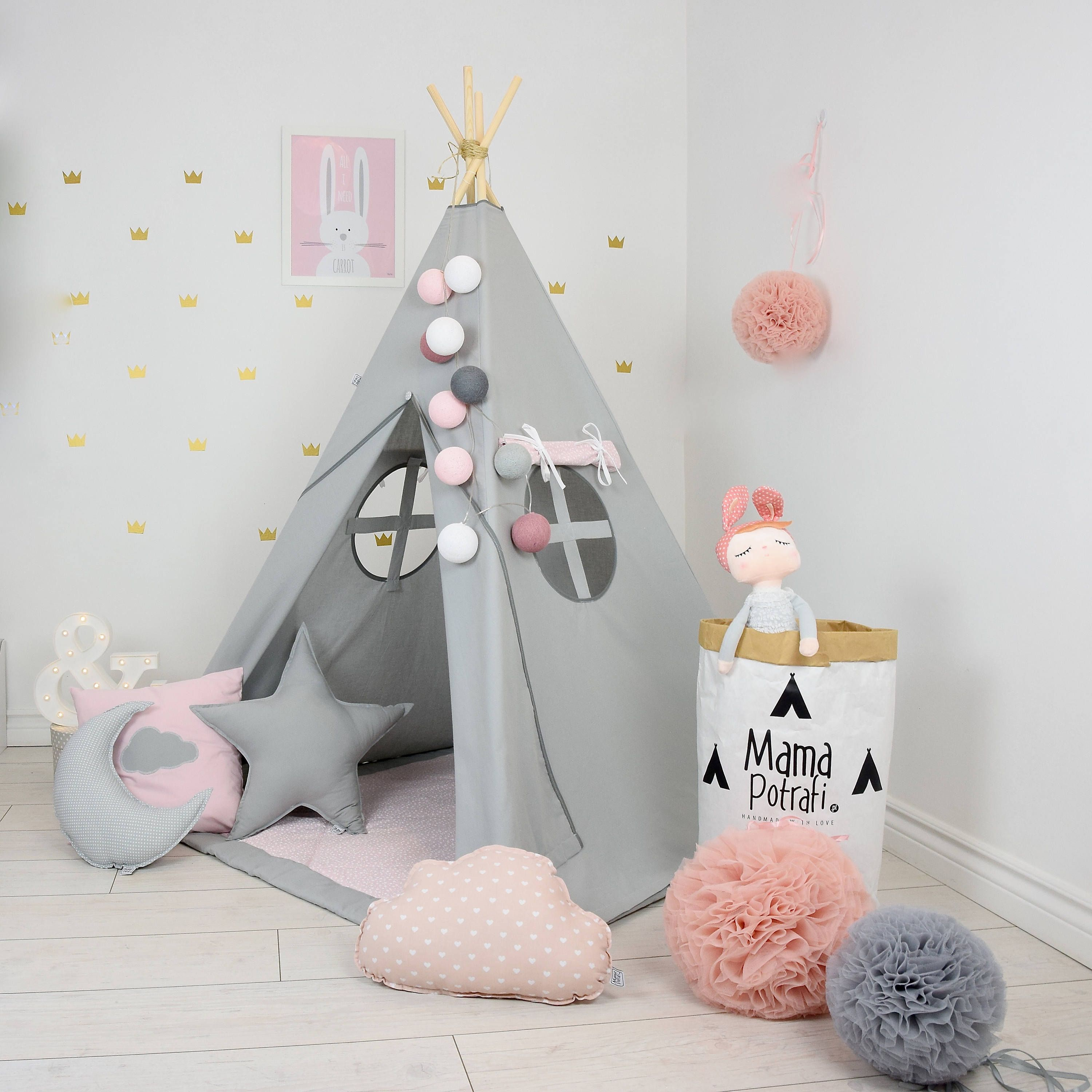 Grey Teepee - Pink Teepee - Princess Teepee - Princess Bedroom ... 1ea4ee42844e3