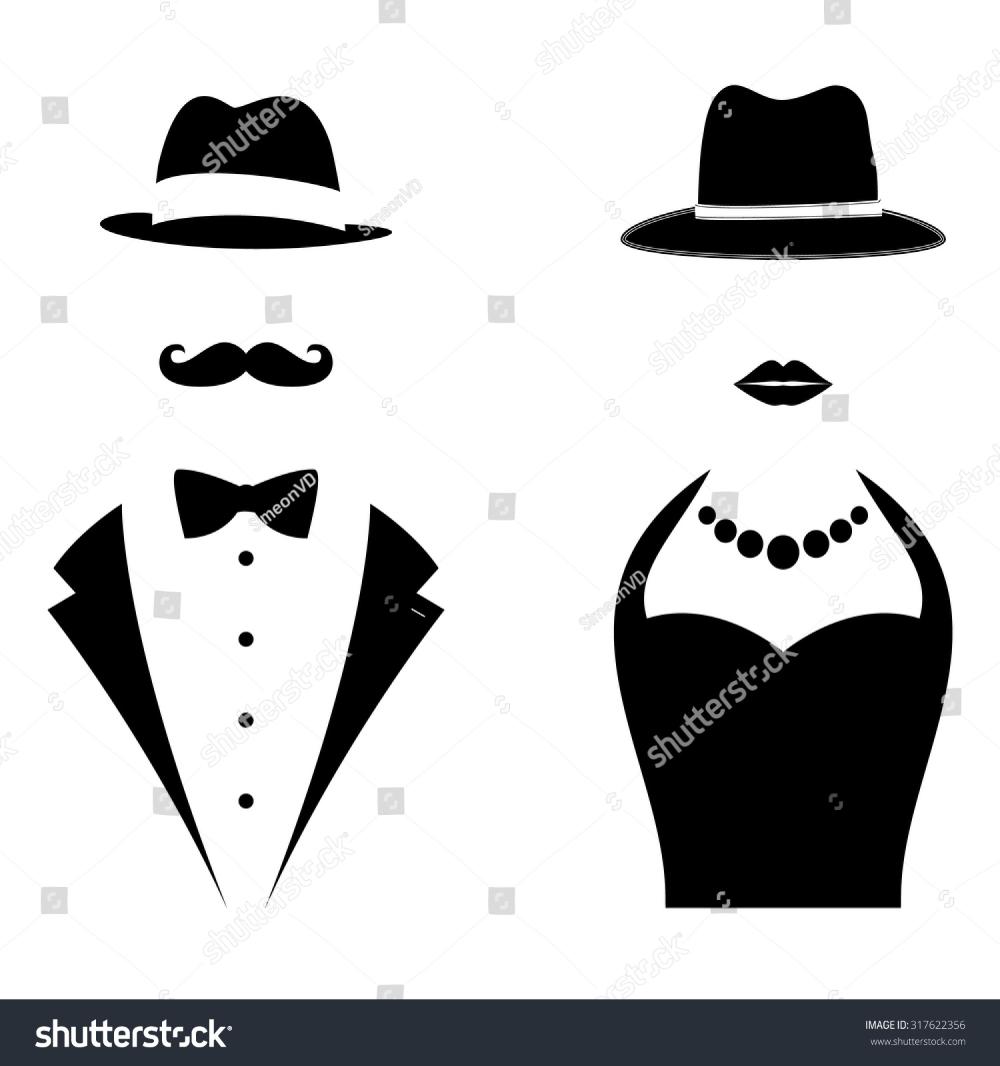 Gentleman Lady Symbols Man Woman Head Stock Vector